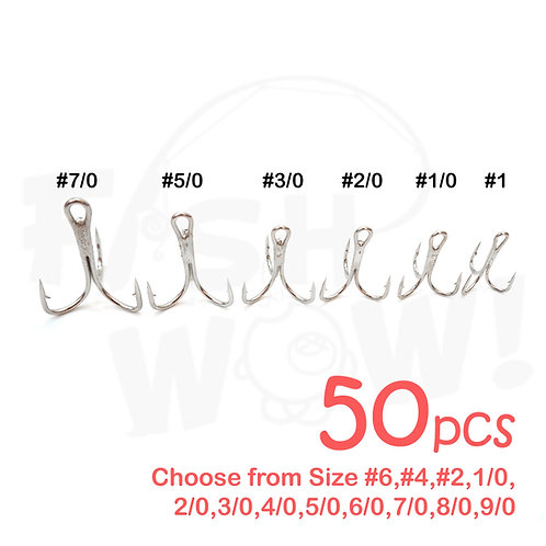 3x Treble Hook Nickel - 50 pieces (Bulk Pack)