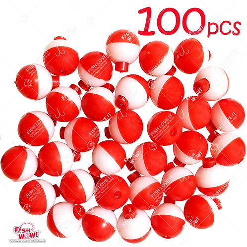 """1"""" Fishing Float Snap-On Round Floats Push Button Float Bobbers Red White"""