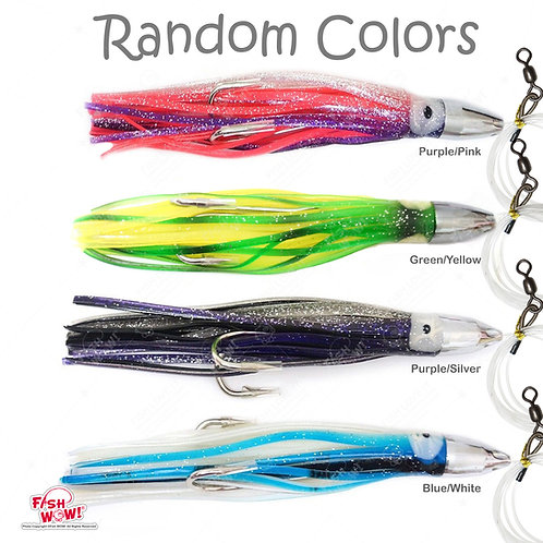 "7"" Bullet Jet Head Squid Rig Random Colors - 5 pieces"