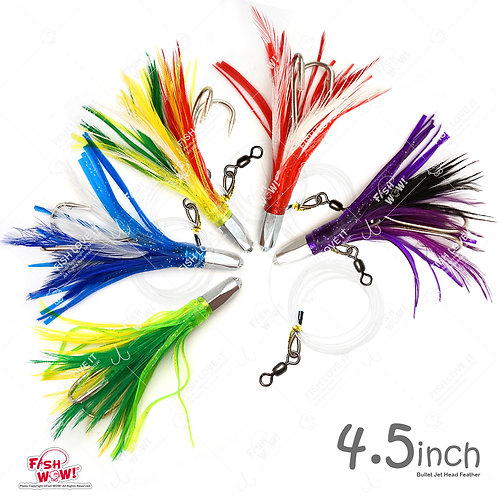 """4.5"""" Bullet Super Hex Jet Head Feather Rig with a Double Hook Trolling Rig"""