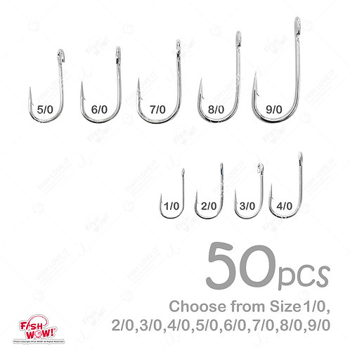 50pcs Fishing 6X Strong Siwash Nickel Hooks Open Eye