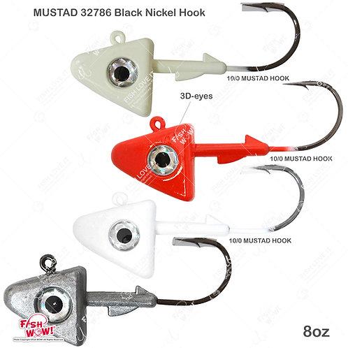 8oz Shad Jig Head 32786 MUSTAD Hook 2X Strong 10/0 Black Nickel Hooks Jigheads