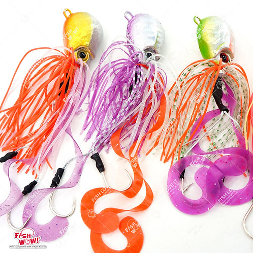 9oz Fishing Rigged Octopus Head Jig Colorful Rubber 255g Thunder Jig Weight Lures Jigging Heavy Bait w/Two Hooks -3 Colors