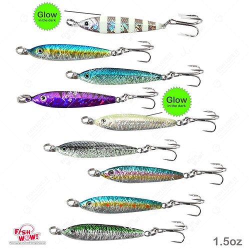 1.5oz Fish Metal Bait Jig 1-1/2oz Mega Live Lure with a Treble Hook