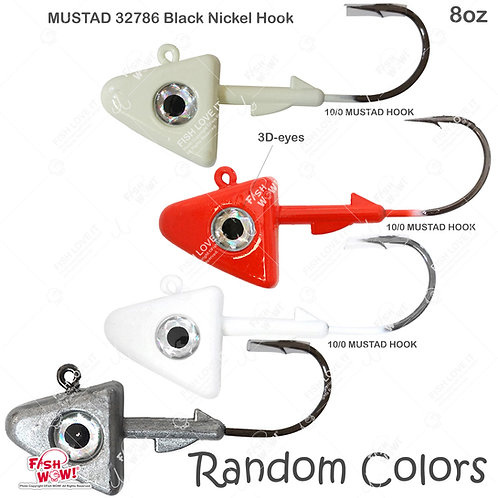 8oz Shad Jig Head 32786 MUSTAD Hook 2X Strong 10/0 Black Nickel Hooks Jigheads