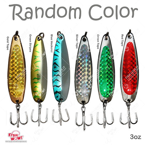 Fish WOW! 3oz 6inch Fishing Spoon with Treble Hook Fish Jig Bait Lures