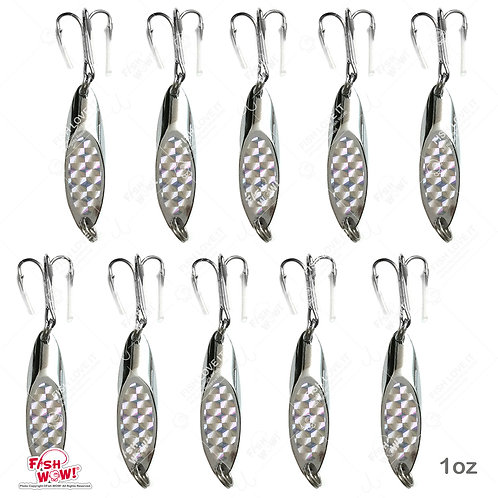Fish WOW! 10pcs 1oz (28gr.) Fishing Kast Spoon with a Treble Hook Fish Chrome Jig Bait Lures Holographic Laser Silver Tape Ka