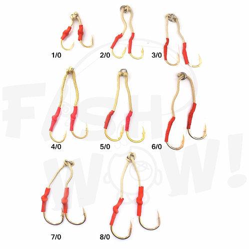 Assist Hook Gold-Plated 4X Strong Jigging Assist Fishing Hooks Size 1/0 for Vertical Speed jig, Knife jig, Butterfly Jigs, Fl