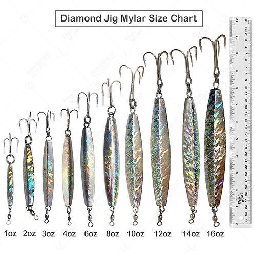 Diamond Jig Mylar Holographic Laser jigs with a Treble Hook