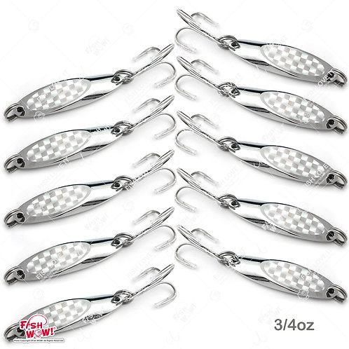 10pcs 3/4oz Fishing Kast Spoon with a Treble Hook 0.75oz Fish Chrome Jig Bait Lures Holographic Laser Silver Tape Kast Master