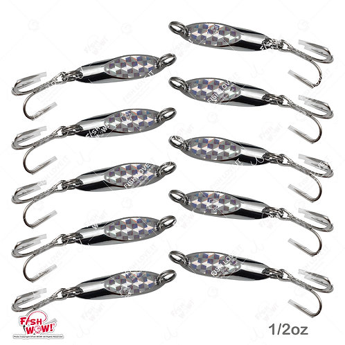 Fish WOW! 10pcs 0.5oz 1/2oz Fishing Kast Spoon with a Treble Hook Fish Chrome Jig Bait Lures Holographic Laser Silver Tape Ka