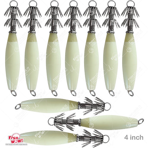 "4"" Fishing Squid Jigs Fluorescent Squid Cuttlefish Sleeve Jig Lure Bait Head Hooks"