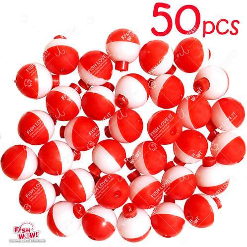"""50pcs 1"""" Fishing Float Snap-On Round Floats Push Button Float Bobbers Red White"""