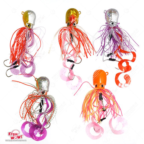 5 oz Fishing Octopus Head Jig Colorful Rubber 150g Thunder Jig Weight Lures Jigging Heavy Bait