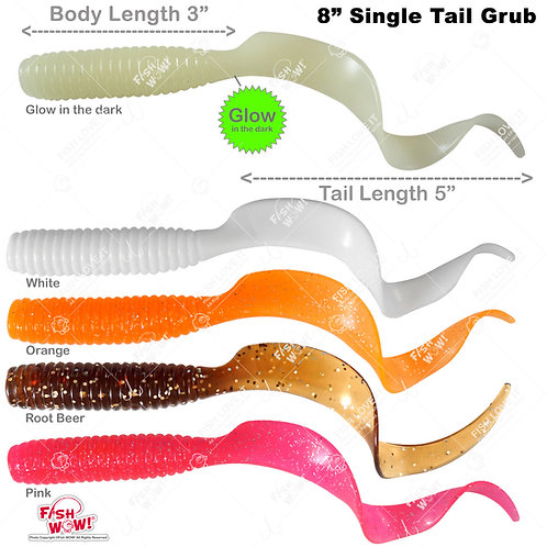 "8"" (with Tail Extended) Curly Single Tail Perch Grub Lure 5 inch Scampi Soft Bait - Root Beer,white,orange,pink,glow"