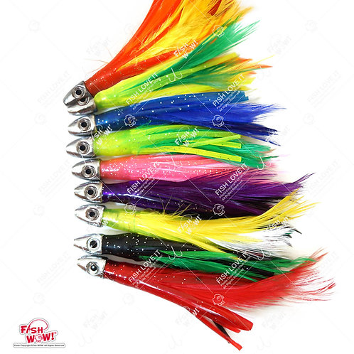 "4"" Mini Feather 1/2oz Bullet Chrome Head Trolling Tuna Lure Squid Skirts"