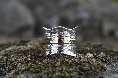 Silver and Gold Aldan Wave Ring