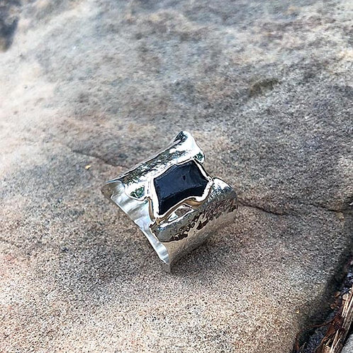 Silver and gold Iceland Lava Ring