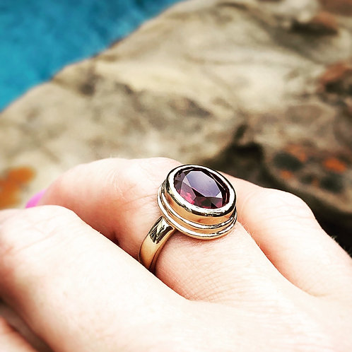 Iceland Ring with Red Gemstone Gold