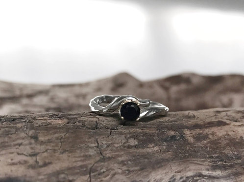Silver Twist and Turn Ring with Black Onyx Handmade