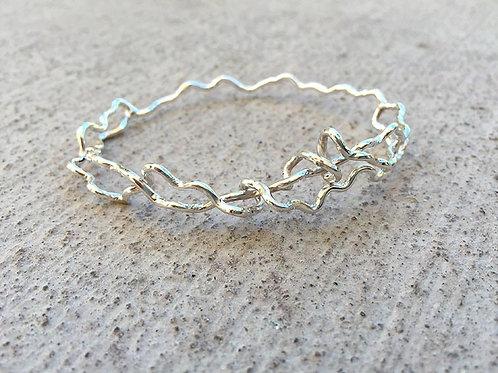 Silver Bangle Bracelet Wavy