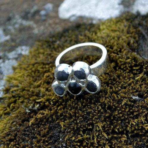 Silver Icelandic Lava Multistone Ring