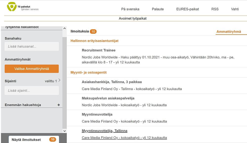 Tallinnassa on töitä suomalaisille ja suomenkielisille.
