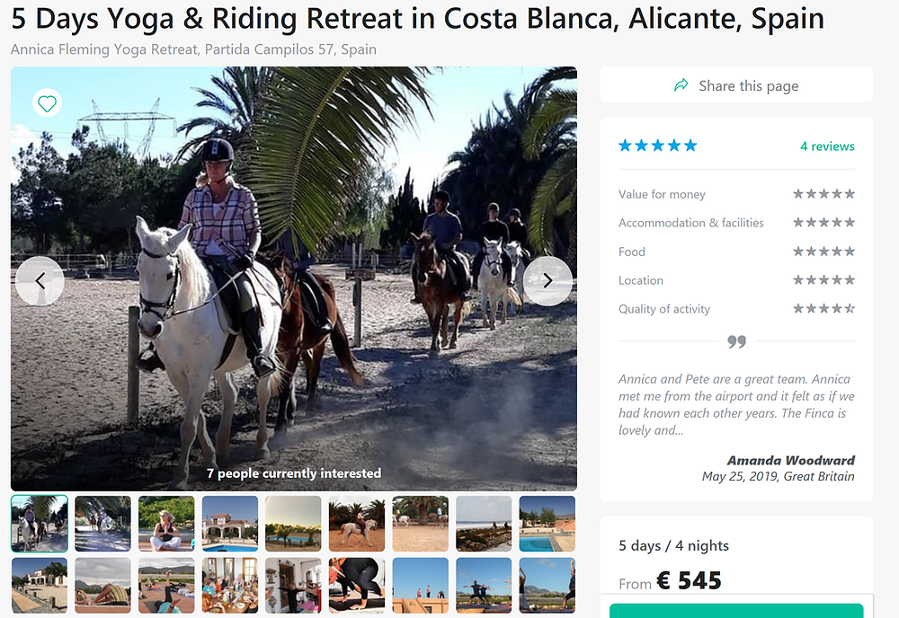 Espanjassa voit ratsastaa joogatuntien välissä.