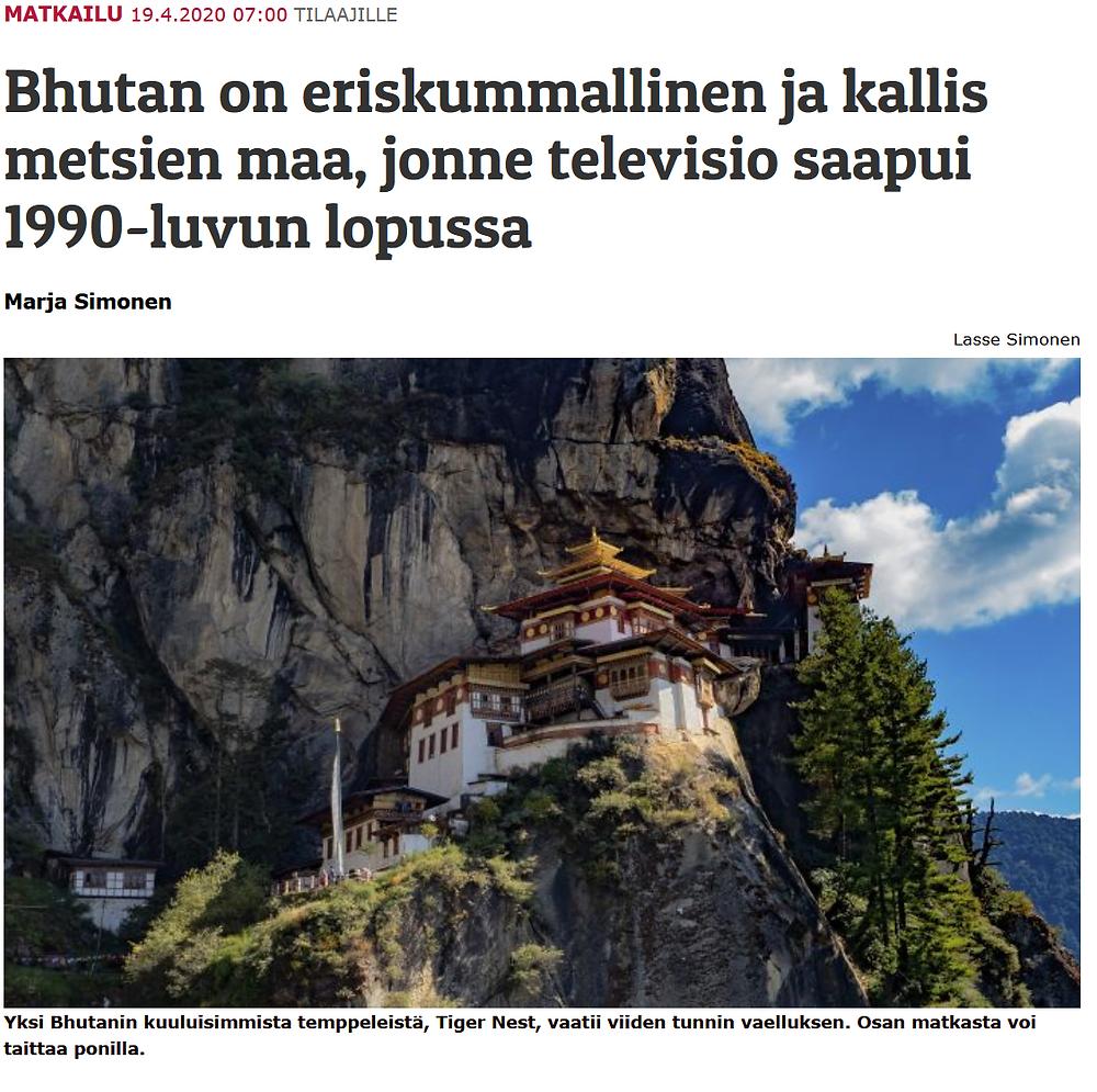 Bhutan-artikkeli Karjalaisessa 19.4.2020