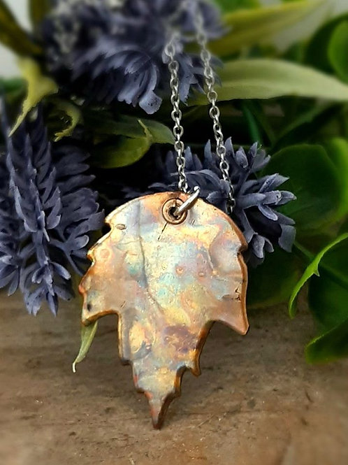 Flame Painted Copper Leaf Pendant