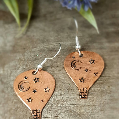 Copper Hot Air Balloons with Moon & Stars