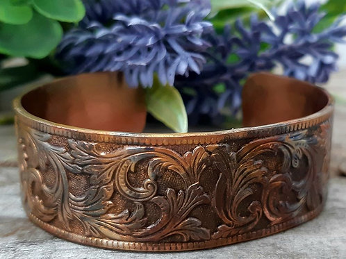 Limited Edition Flourish Flame Painted Copper Cuff