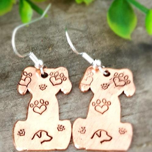 Copper Dog Earrings - Lab Head & Paw Prints