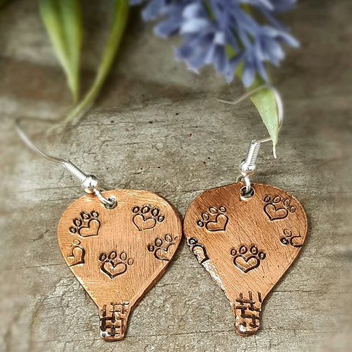 Copper Hot Air Balloons with Heart Paw Prints