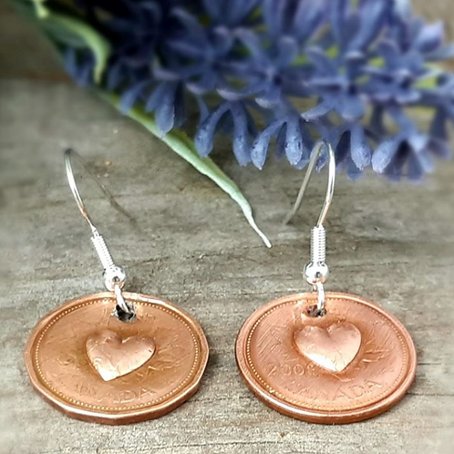 Penny Earrings with 3D Hearts