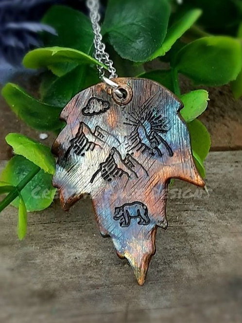 Flame Painted Copper Mountain Range Leaf Pendant