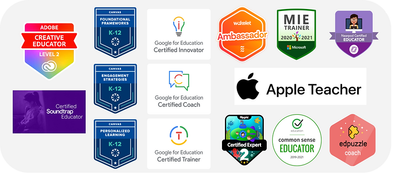 A collection of 15 edtech badges from Google,  Canvas, Nearpod, Edpuzzle, Flipgrid, Common Sense Education, Adobe, and Wakelet.