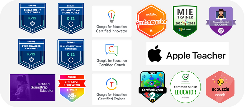 A collection of edtech badges.