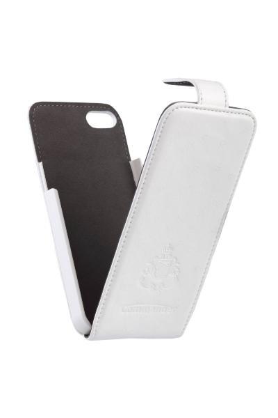 """Калъф кожен """" Flip case Commander """" за iPhone 5/5S / Бял /"""