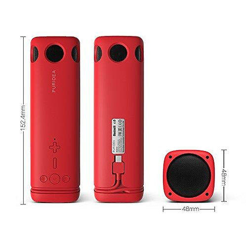 Power bank PURIDEA i2 8000mAh + Bluetooth Говорител / Червен /