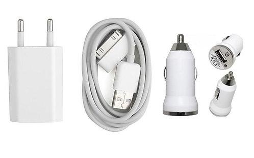 Зарядно 3в1 ( 220V + 12V + USB ) за iPhone 4G/4S/3GS/2G