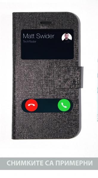 Калъф тефтер отвор информация черен за iPhone 5G / 5S