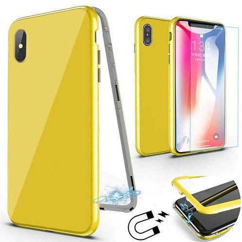 360 Магнитен калъф Жълт + стъклен протектор за iPhone X / XS 5.8