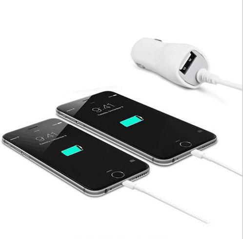 12V Зарядно за автомобил iPhone 2.1A / 1USB Port / Бял