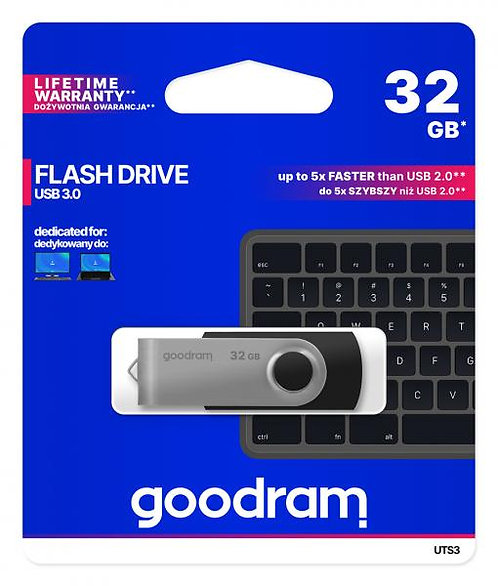 USB Flash памет 32GB GOODRAM TWISTER PENDRIVE USB 3.0 Черен