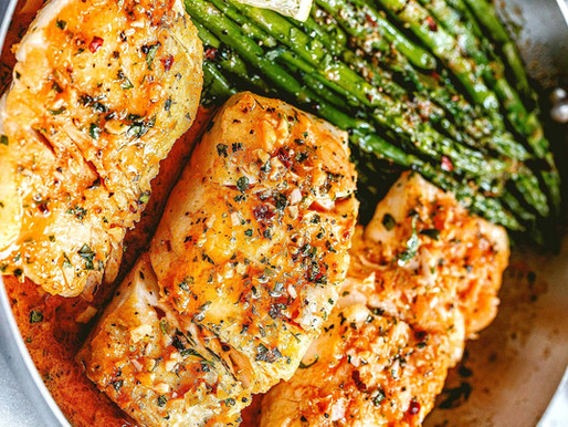 Garlic Butter Smoked Cod with Jalapeno Bacon Asparagus