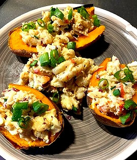 All Aboard the Smoked Shrimp Sweet Potato Boat