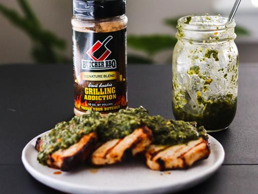 Juicy Grilled Pork Chop w/Chimichurri