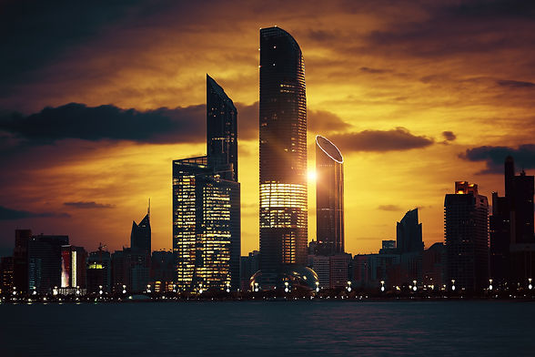View of Abu Dhabi Skyline at sunset, Uni