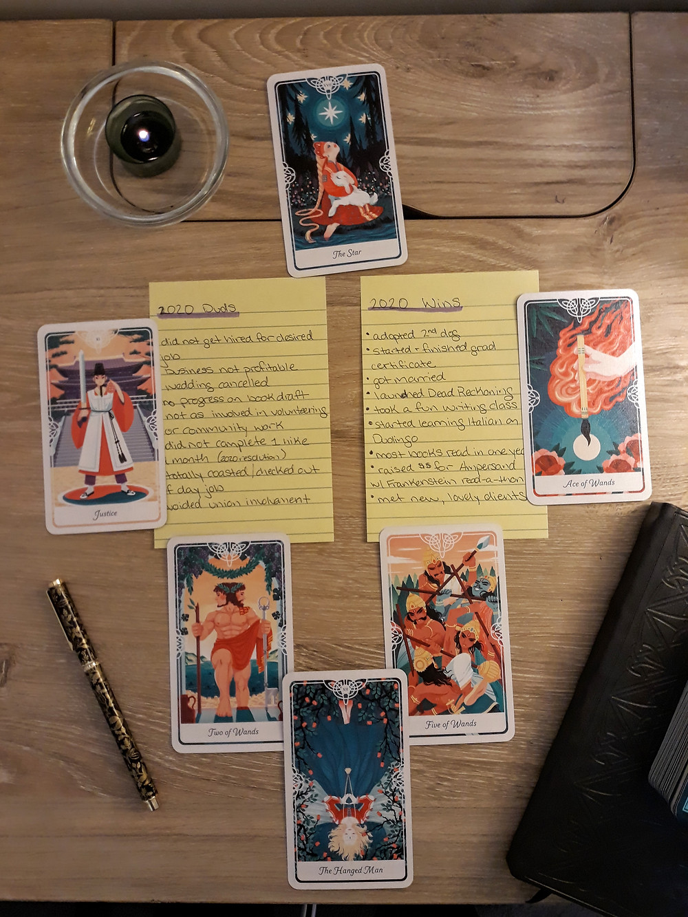 Tarot cards from The Tarot of the Divine deck are arranged in the 2020 Reflection Tarot Spread.